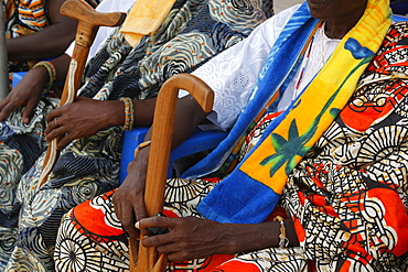 Chiefs attending the Ouidah Voodoo festival, Ouidah, Benin, West Africa, Africa