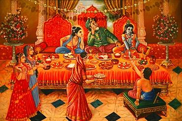 Painting in the London ISKCON Hindu temple of Krishna with his brother Balaram and father Nanda Maharaj, London, England, United Kingdom, Europe