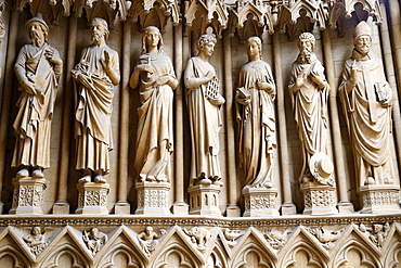 Portal of the Virgin dating from the 13th century, showing from left to right St. Joachim, St. Joseph, St. Lucia, St. Lawrence, St. Cecilia, St. Jerome and St. Arnold, Metz Cathedral, Metz, Lorraine, France, Europe
