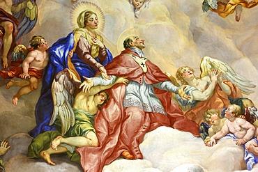Intercession of Charles Borromeo supported by the Virgin Mary, fresco by Johann Michael Rottmayrr, Karlskirche (St. Charles's Church), Vienna, Austria, Europe