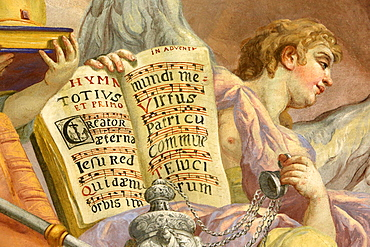 Antiphonar, fresco by Johann Michael Rottmayrr, Karlskirche (St. Charles's Church), Vienna, Austria, Europe