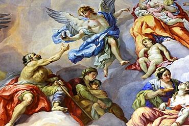 Angels and beggars, fresco by Johann Michael Rottmayrr, Karlskirche (St. Charles's Church), Vienna, Austria, Europe