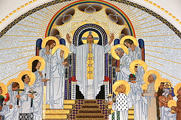 Jesus Christ depicted in The Home in Paradise, mosaics created by Remigius Geyling, Steinhof Church built by Otto Wagner between 1902 and 1907, Vienna, Austria, Europe