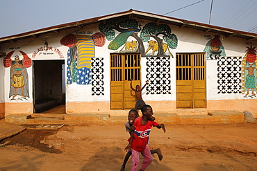 Boys playing outside a Voodoo temple in Ouidah, Benin, West Africa, Africa