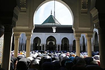 Friday prayer at the Paris Great Mosque, Paris, France, Europe