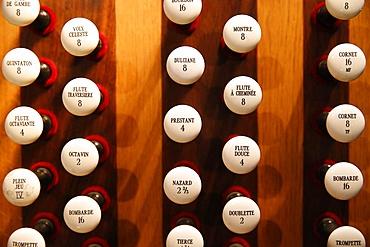 Organ detail, Notre-Dame du Perpetuel Secours Basilica, Paris, France, Europe