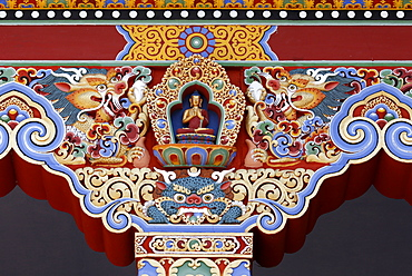 Detail of Buddha, Temple of the Thousand Buddhas, Dashang Kagyu Ling congregation, La Boulaye, Saone-et-Loire, Burgundy, France, Europe