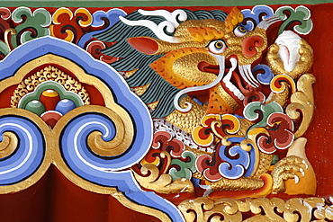 Dragon detail, Temple of the Thousand Buddhas, Dashang Kagyu Ling congregation, La Boulaye, Saone-et-Loire, Burgundy, France, Europe