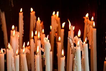 Sanctuary candles, Lourdes, Hautes Pyrenees, France, Europe
