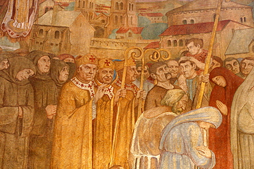 Fresco painted by Paul Lemasson in 1927, of Sainte Genevieve's reliquary carried in procession with Bishops Saint Loup de Troyes and Saint Germain d'Auxerre, Sainte Genevieve's Cathedral, Nanterre, Hauts-de-Seine, France, Europe