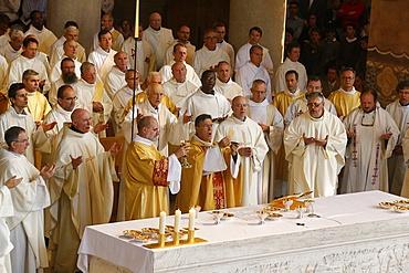Eucharist celebration in Sainte Genevieve's Cathedral, Nanterre, France, Europe