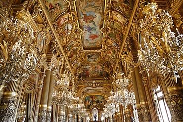Celling of the Grand Foyer, Paris Opera, Palais Garnier, Paris, France, Europe