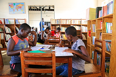 Homework in the library, Primary School Adjalle, Togo, West Africa, Africa
