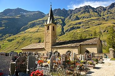St. John the Baptist's church and graveyard, Bessans, Savoie, France, Europe