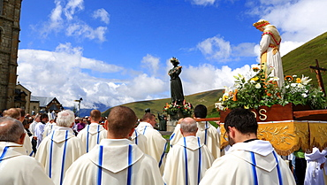 Blessed Sacrament procession, Holy Mass on the solemnity of the Assumption of the blessed Virgin Mary, Shrine of Our Lady of La Salette, La Salette-Fallavaux, Isere, France, Europe