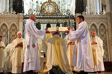Gospel, Bishop Olivier Leborgne, Bishop of the Diocese of Amiens, Episcopal ordination, Amiens Cathedral, UNESCO World Heritage Site, Picardy, France, Europe