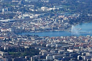 Lake Geneva and water jet, the world's tallest fountain, Geneva, Switzerland, Europe