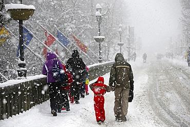 Snowfall, Saint-Gervais-les-Bains, Haute-Savoie, France, Europe