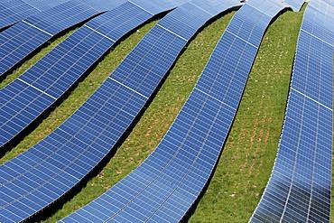 Solar farm, detail of photovoltaic power plant, Alpes-de-Haute-Provence, France, Europe
