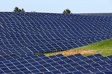 Solar farm, Photovoltaic power plant, Alpes-de-Haute-Provence, France, Europe
