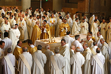 Chrism mass in Sainte Genevieve's cathedral, Nanterre, Hauts-de-Seine, France, Europe