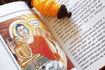 Buddhist sacred texts and a roll of Sai-Sin (sacred thread), Life of Siddhartha Gautama, the Supreme Buddha, Geneva, Switzerland, Europe