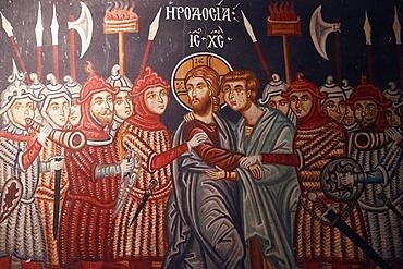 Fresco of Jesus Christ arrested, Church of Archangel Michael, Pedoulas, Cyprus, Europe
