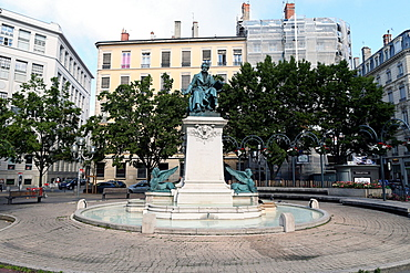 A statue made by Charles Textor portraying Andre-Marie Ampere erected in the center of the square, Lyon, Rhone Valley, France, Europe