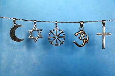 Symbols of Islam, Judaism, Buddhism, Hinduism and Christianity, Eure, France, Europe