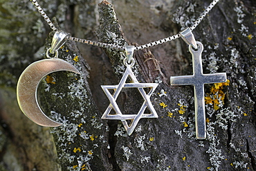Symbols of Islam, Judaism and Christianity, Eure, France, Europe