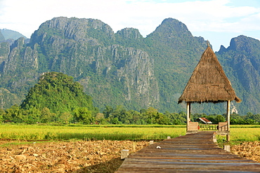 Rice fields with stunning mountain backdrop, Laos, Indochina, Southeast Asia, Asia