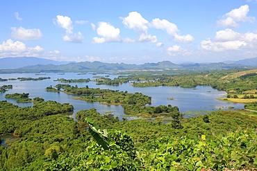 Landscape, Nam Ngum Lake and islands, Vientiane Province, Laos, Indochina, Southeast Asia, Asia