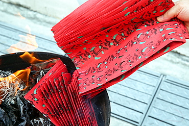 Ancestor worship, burning hell bank notes and other forms of joss paper, Hungry Ghost Festival (Ullambana), Singapore, Southeast Asia, Asia
