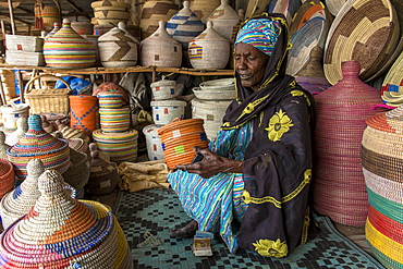 Handmade basket shop, Thies, Senegal, West Africa, Africa