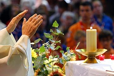 Catholic Mass, Eucharist celebration, France, Europe