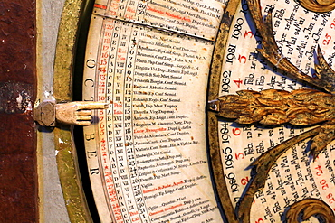 Calendar, astronomical clock of St. John, Lyon Cathedral, Lyon, France, Europe