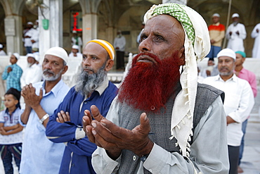 Muslim faithful turning towards the main shrine in the evening, Ajmer Sharif Dargah, Rajasthan, India, Asia