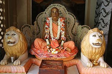 Statues in A. C. Bhaktivedanta Swami Prabhupada's mausoleum in Vrindavan, Uttar Pradesh, India, Asia
