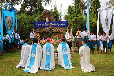 Assumption celebration outside Battambang Catholic church, Battambang, Cambodia, Indochina, Southeast Asia, Asia