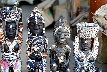 Voodoo statues on the Akodessawa Fetish Market, the world's largest voodoo market, Lome, Togo, West Africa, Africa