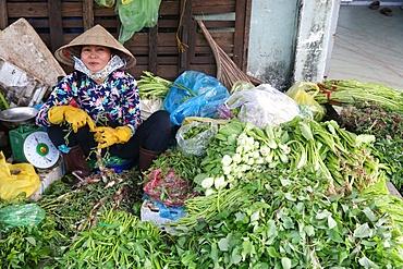 Fresh vegetables at market stall, Vung Tau, Vietnam, Indochina, Southeast Asia, Asia