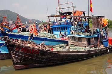 Fishing boats in Vung Tau Harbour, Vietnam, Indochina, Southeast Asia, Asia