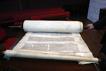 Old Torah scrolls, Synagogue of the Liberal Jewish Community of Geneva, Geneva, Switzerland, Europe
