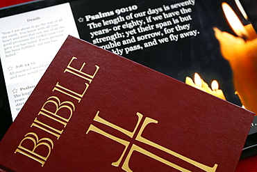 The Holy Bible on paper and Ipad, France, Europe