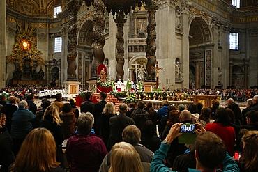 Mass in St. Peter's Basilica, Vatican, Rome, Lazio, Italy, Europe