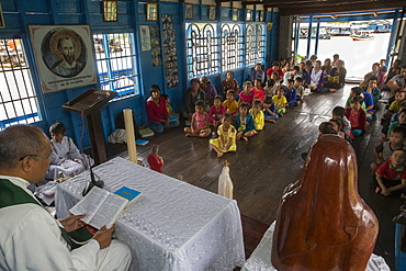 Catholic Mass in Chong Khnies floating church on the Tonle Sap Lake, Siem Reap, Cambodia, Indochina, Southeast Asia, Asia