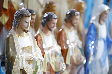 Shop selling religious Christian items including statues of Jesus, Ho Chi Minh City, Vietnam, Indochina, Southeast Asia, Asia