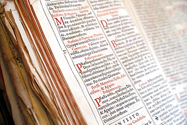 Old Roman Missal in Latin dating from the 17th century, Haute-Savoie, France, Europe