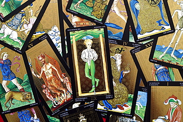 The devil and the hanged man, tarot cards, Haute-Savoie, France, Europe