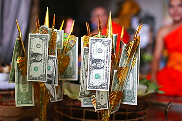 US dollars on Buddhist money tree to make merit and donate to local temple, Wat Naxai Buddhist Temple, Vientiane, Laos, Indochina, Southeast Asia, Asia